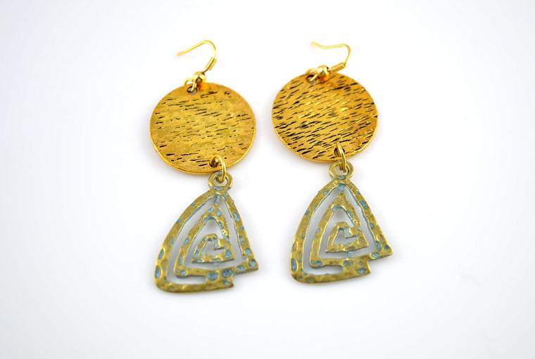 Istanbul Patina Triangle Earrings