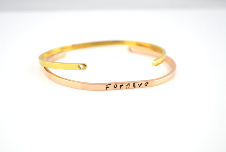 Personalised Slim Cuff Bracelet - Rose Gold