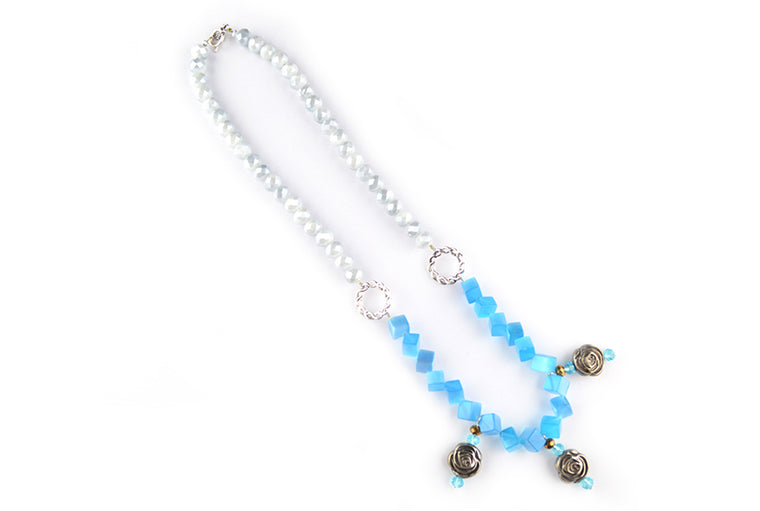 Frosted Glass Bead Necklace with Metal Rose