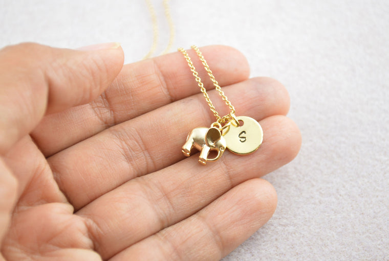 Gold Elephant Personalised Name Initial Necklace