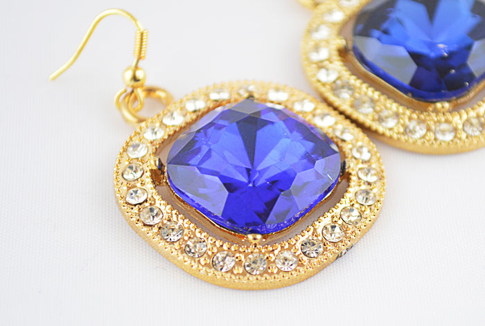 Midnight Blue Square Alloy Glass Pendant Earrings