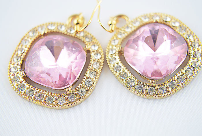 Pink Square Alloy Glass Pendant Earrings