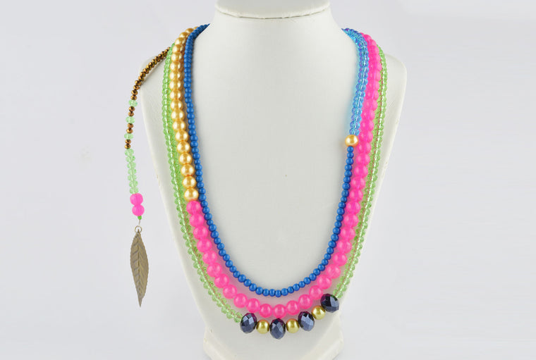 Pink & Blue Three Layer Necklace with Antique Bronze Dangler