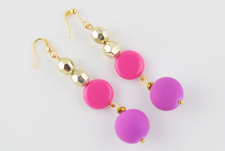 Bright Pink & Golden Faceted Bead Earrings