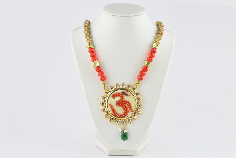 Indian Vintage Red OM Necklace with Glass & Rhinestone Beads