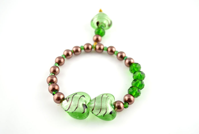 Brown Pearls and Green Lampwork Beads Stretchy Bracelet