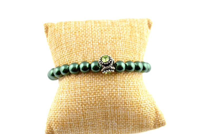 Green Pearl Stretchy Bracelet
