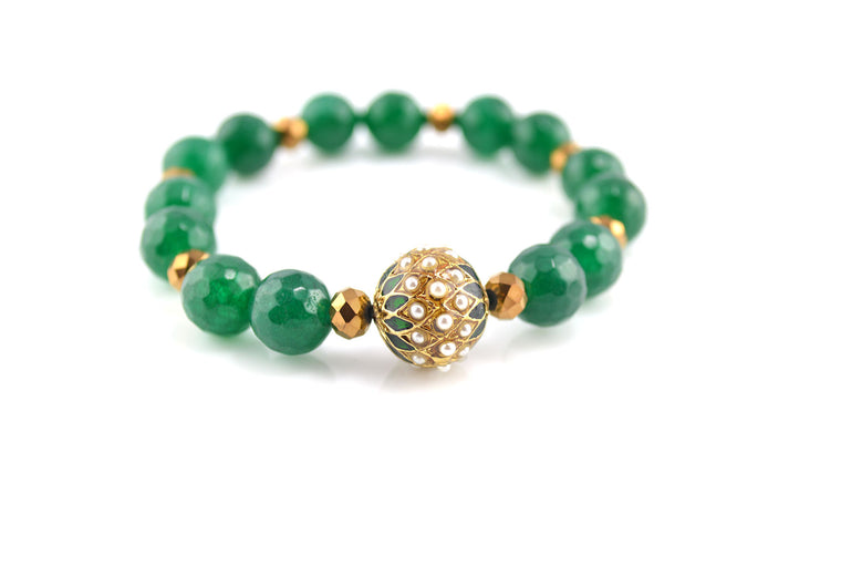 Green Synthetic Jade Beads Stretchy Bracelet