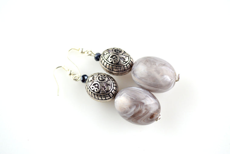 Grey Bead Antique Silver Dangler Earrings