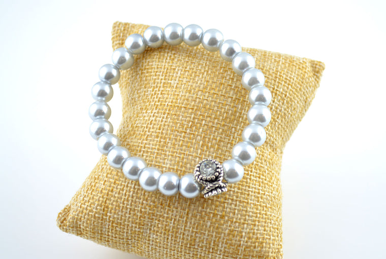 Grey Pearl Stretchy Bracelet