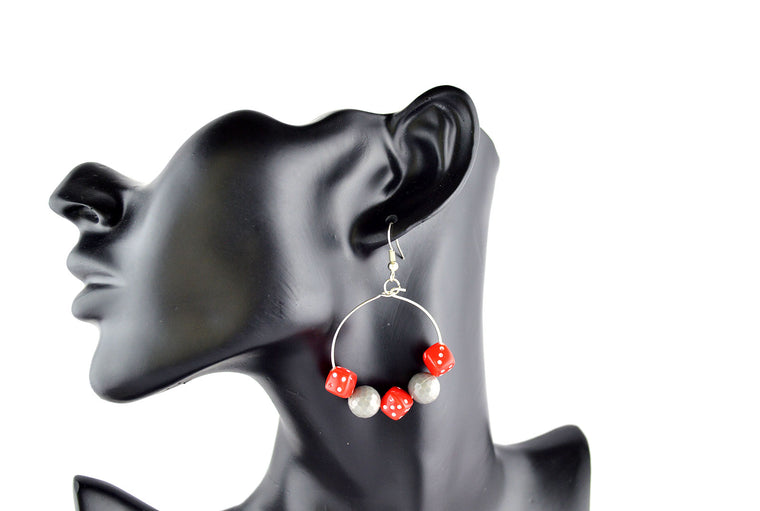 Grey and Red Dice Hoop Earrings