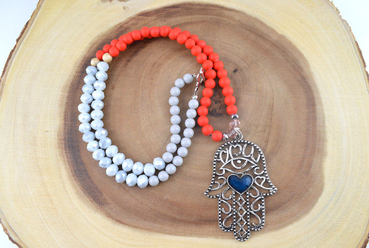 Red Handmade Beaded Hamsa Necklace