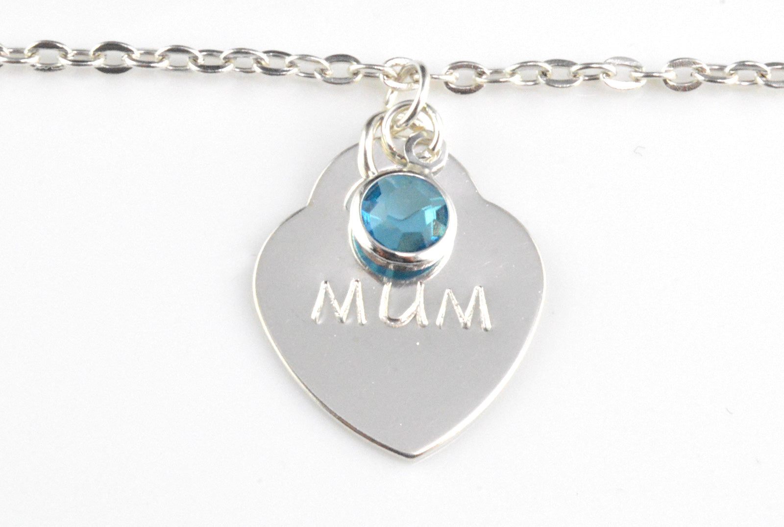 Sterling Silver Bracelet with Heart Pendant and Birthstone Charm