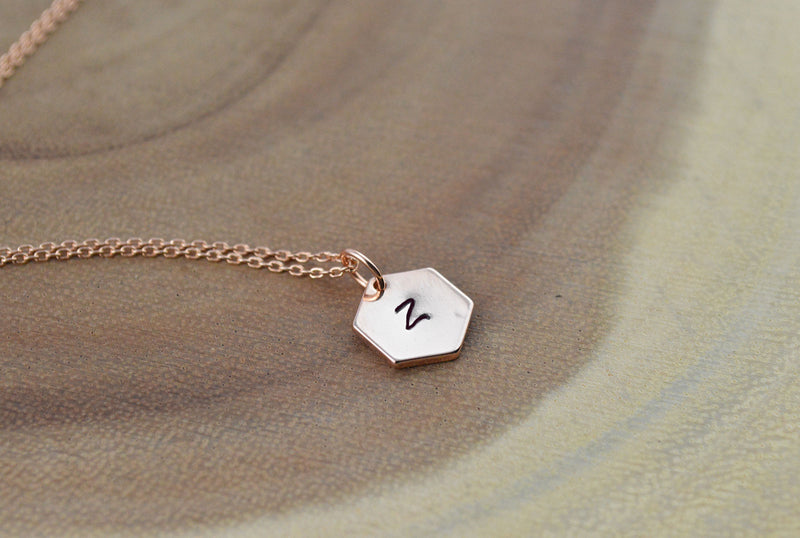 41bf28a02992c Personalised name initial rose gold necklace