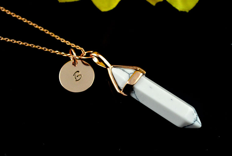 Howlite White Gemstone Personalised Name Initial Rose Gold Necklace