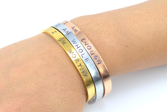 Stainless Steel Personalised HandStamped Gold/Silver/Rose Gold Plated Bracelet