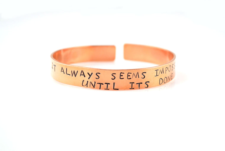 Copper Hand Stamped Personalised Bracelet -