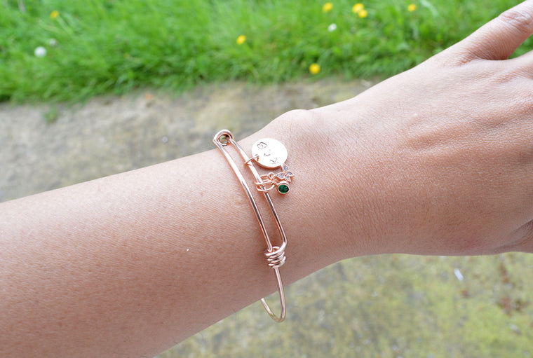 Personalised Rose Gold Bangle - Charm Bracelet
