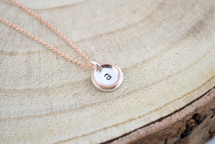 Karma Ring Necklace, Name Initial Necklace, Name Necklace