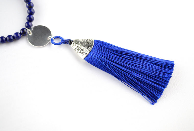 Blue Lapis Lazuli Gemstone Necklace with Sterling Silver Tassel Pendant - Customisable