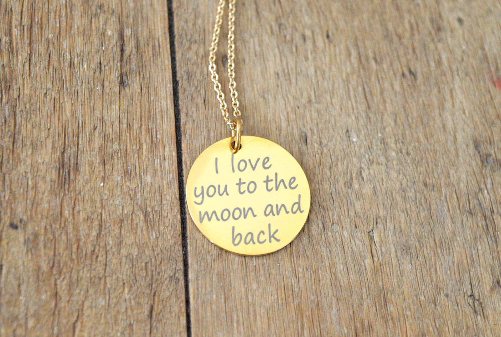 Gold Plated Dainty Necklace - Love you to the moon and back