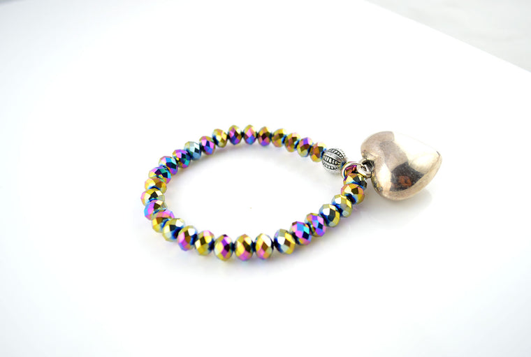 Metallic Rainbow Glass Faceted Beads Heart Stretchy Bracelet
