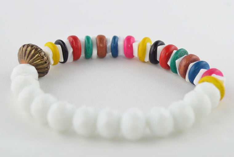 White Glass & Multicolored Wooden Beads Bracelet