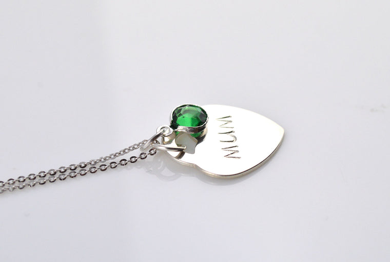 Sterling Silver Heart Pendant Necklace - Birthstone Jewellery