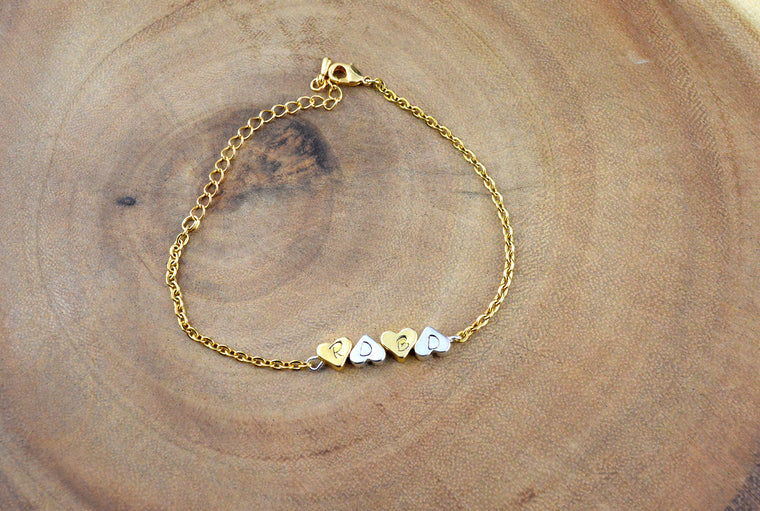Silver & Gold Heart Chain Bracelet
