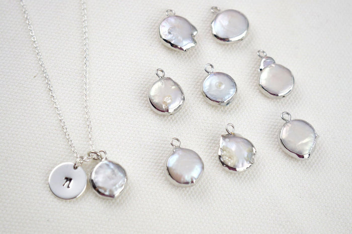 Natural Keshi Pearl Silver Necklace