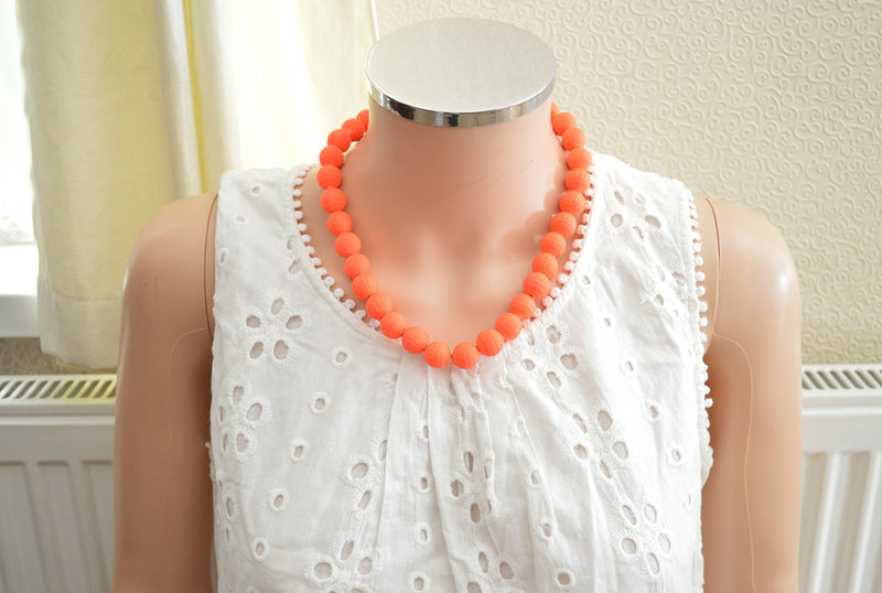Neon Orange Beaded Necklace
