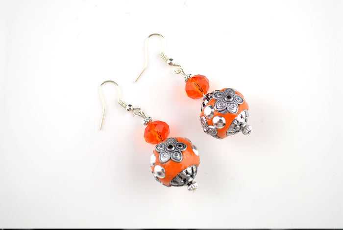 Orange and Silver Indonesian Earring