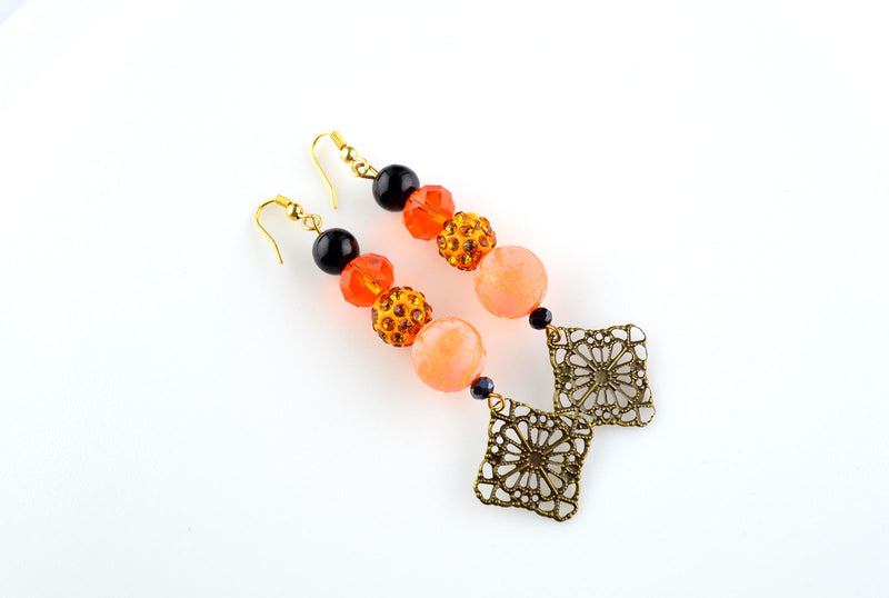 Orange and Black Disco Ball Bead Dangler Earrings