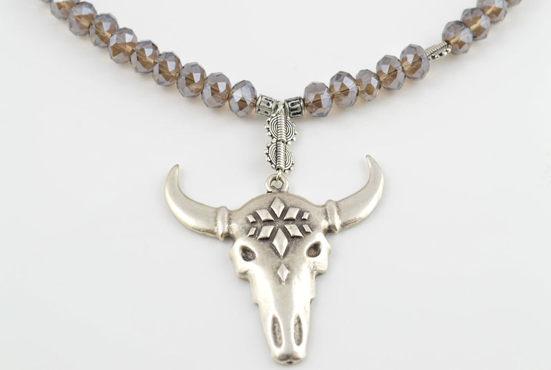 Antique Silver Ox Necklace