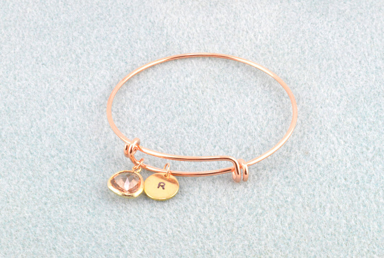 Peach Glass Pendant Rose Gold Bangle