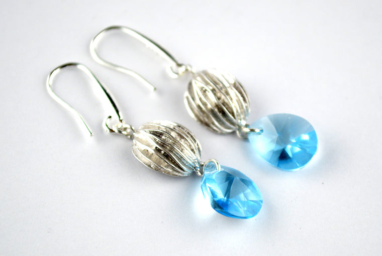 Aqua Blue Swarovski Earrings with 925 Silver Ear Hooks