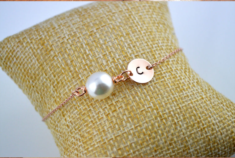 Rose Gold Pearl Name Initial Bracelet