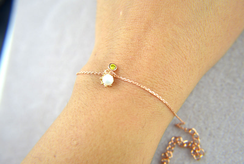 Avec Pearl and Birthstone Bracelet