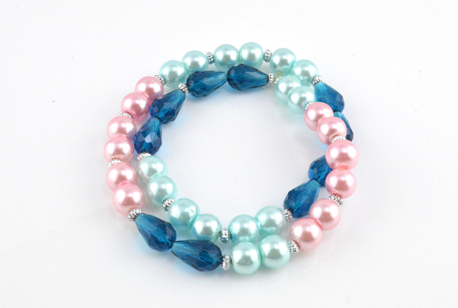 Pearl and Drop Glass Faceted Stretchy Bracelet - Double Layer