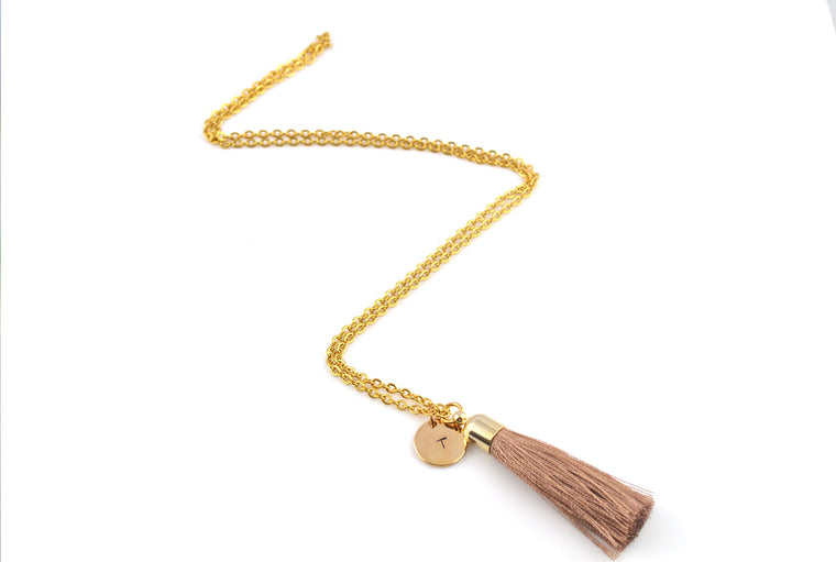 Personalised Name Initial Tassel Necklace - Brown