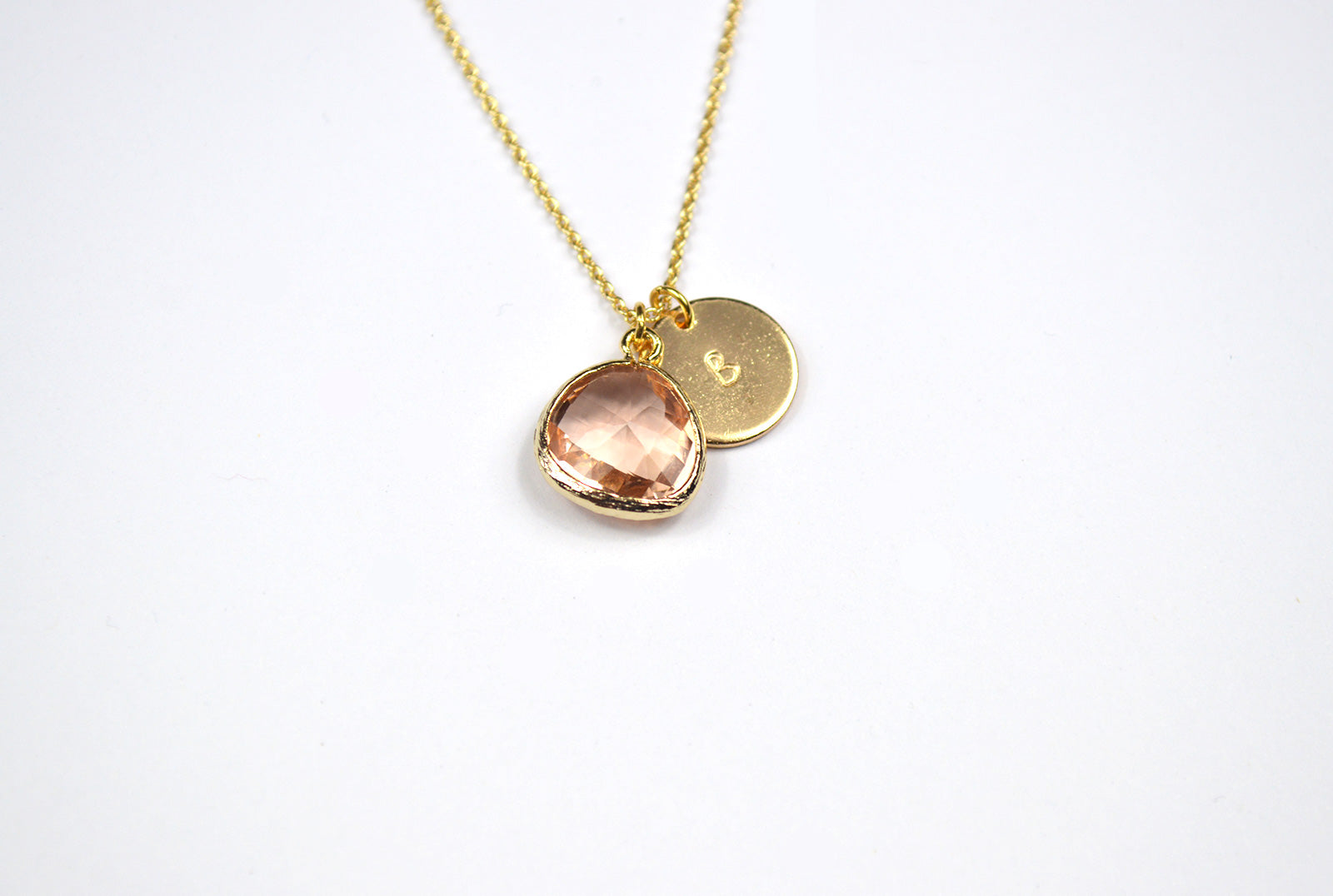 Personalised Peach Pendant Gold Plated Necklace
