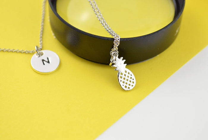 Pineapple Necklace, Initial Necklace