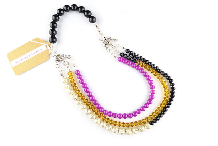Multi-Colored Three Layered Glass Beads Necklace
