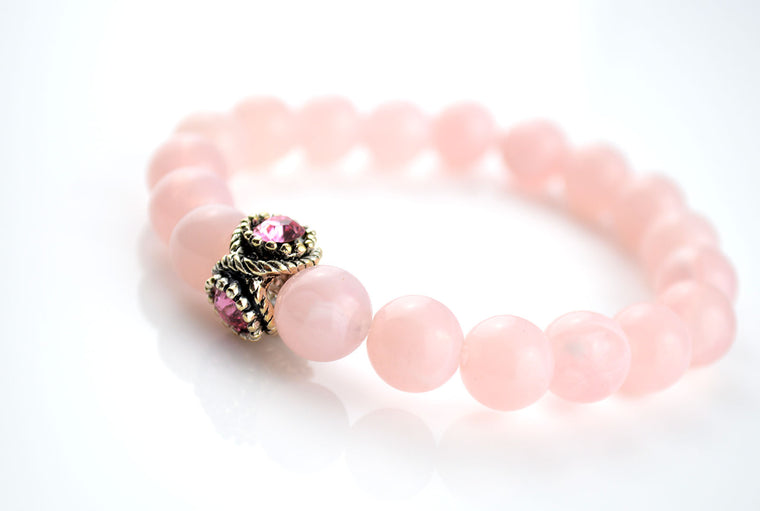 Pink Glass Beads Stretchy Bracelet