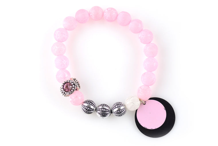Pink And Black Antique Silver Charm Stretchy Bracelet