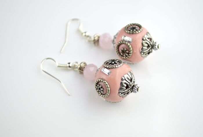 Pink and Silver Indonesian Earring