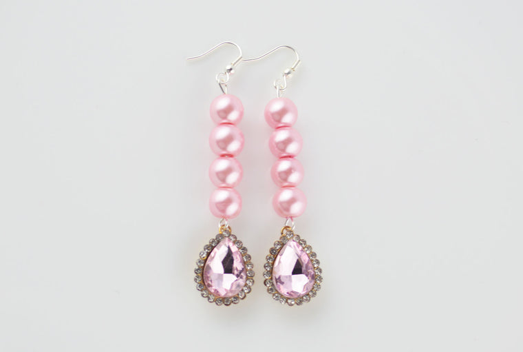 Pearl & Rhinestone Pendant Earrings - COLORS AVAILABLE
