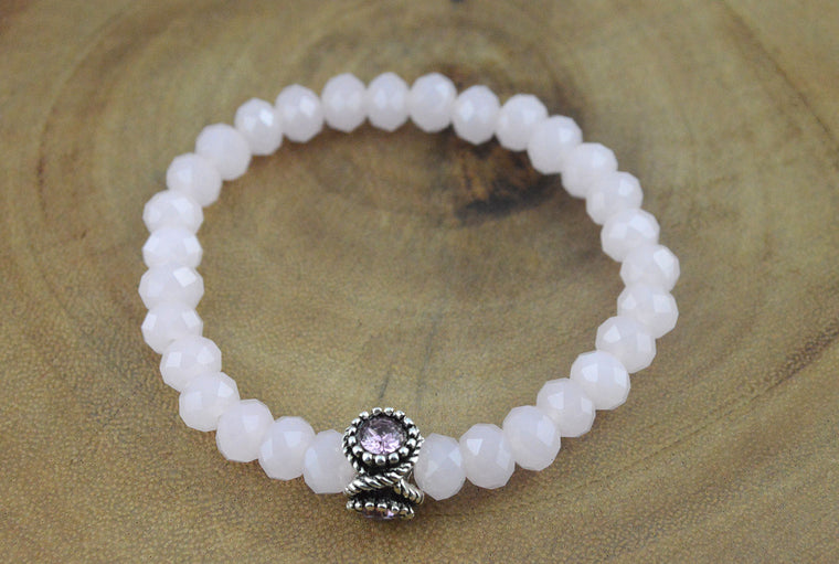 Pink Faceted Glass Beads Stretchy Bracelet