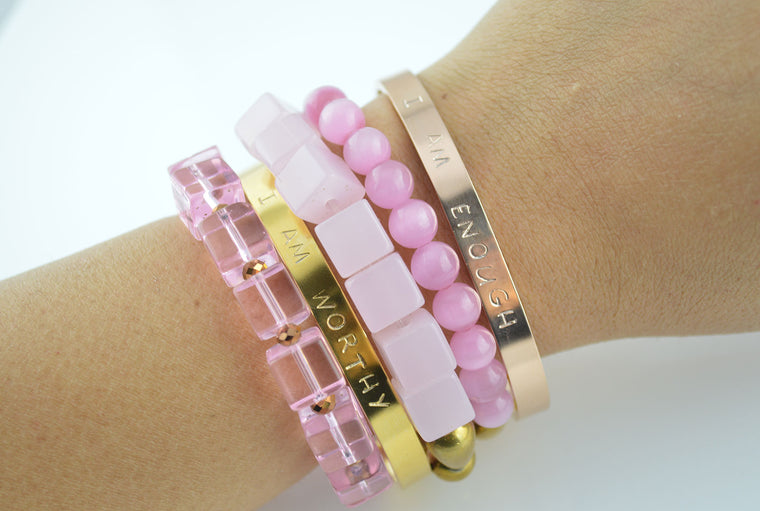 'I AM' Bracelet Stack - Pink and Golden Beads