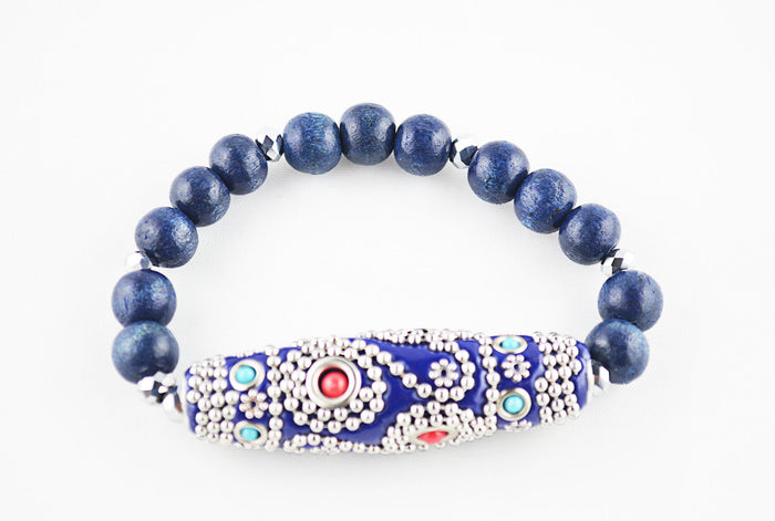 Blue Bead Bracelet with Red and Turquoise Fastoon